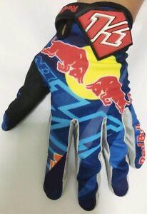 Blue Red Bull gloves. Motocross. Bike. ATV. BMX.Enduro. 100% FOX Cycle Free P&P