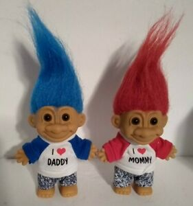 """I LOVE MOMMY RED HAIR & I LOVE DADDY BLUE HAIR - SET OF TWO 5"""" Russ Troll DOLLS"""