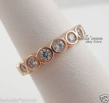 3b7a229dd ALLURING BRILLIANT Pandora ROSE GOLD Plated CLEAR CZ Stones Band RING 4.5/48  NEW