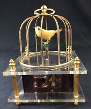 Vintage Singing Brass and Lucite Bird Cage Music Box Working
