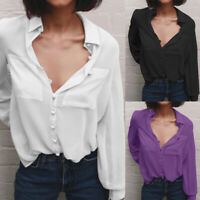 Womens V Neck Chiffon Tops Shirt Long Sleeve Collar Casual Button Solid Blouse
