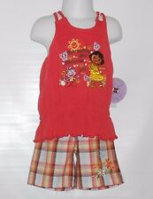 Nickelodeon Dora The Explorer Toddler Girl's Two (2) Piece Plaid Short Set 3T/3