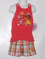 Nickelodeon Dora The Explorer Toddler Girl's Two (2) Piece Plaid Short Set 2T/2