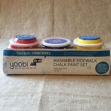 Sidewalk Chalk Paint Set Yoobi Washable 3 Color 2 Paint Brushes 2 Foam Stamps