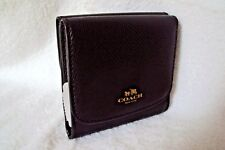 COACH Signature Leather Black Trifold Wallet F53768 NWT