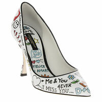 Dolce & Gabbana Women's Glossy Printed Love Graffiti Pumps Shoes White