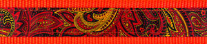 Country Brook Design® 1 1/2in Fire Paisley on Neon Orange Nylon Webbing, 8 Yards