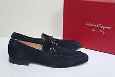 New sz 9.5 D SALVATORE FERRAGAMO Nilo Gancini Bit Blue Suede Loafer Men Shoes