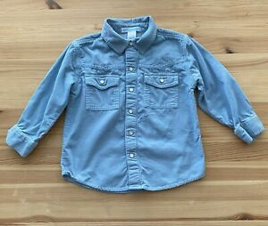 JANIE AND JACK Western Flair Blue Corduroy Snap Up Shirt Size 2T