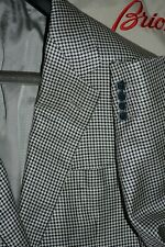 $4895 Brioni Silk Wool Houndstooth Sportcoat Silver Blazer 42 L 42L Italy defect