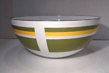 "Skoal Norway 9½"" Green Yellow & White Enamel on Metal Salad Serving Bowl!"