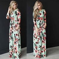 Women Boho Floral Long Sleeve Boho Dress Ladies Evening Party Long Maxi Dress