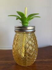 Pineapple Mason Jar 16oz - Yellow Sipper Glass Cup with Lid NEW MINT