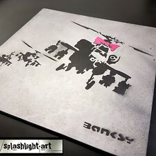 Textured Plaster Banksy 50cm 'Happy Choppers' Black and Pink Spray Paint Art