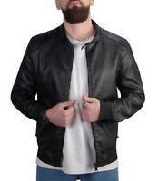 Giubbino Uomo di Pelle Nero Chiodo ecopelle Giacca Casual Motociclista Slim Fit