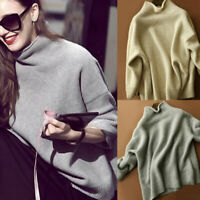 Women's Pullover Sweater Cashmere Blends Turtleneck Pullover Loose Sweatshirts