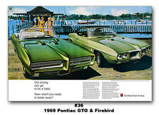 13x19 1969 Pontiac GTO Convertible Firebird 400 Ad Print Poster Wide-Track