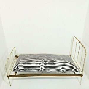 Vintage Metal Doll Bed 13 x 25 AND Mattress Metal Base Rustic Dolls Antique