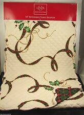 """Lenox American By Design Quilted Reversible Plaid & Ivy Table Runner 14""""x70"""