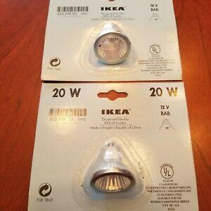 Two (2) IKEA 20 Watt Low Voltage 12 Volt BAB Halogen Indoor / Outdoor Floods