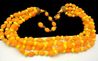 """Vintage 16"""" Signed Miriam Haskell Yellow Orange Art Glass Bead Necklace A46"""