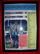 Cronulla Sharks 14 Melbourne Storm 12 - 2016 NRL Grand Final - framed print