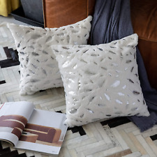 Set of 2 Silver Leaves Soft Throw Pillows Couch Bed Accent Home Decor