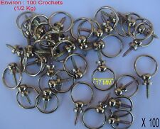 100 Crochets Bélière Laitonné,Accroche Tableaux,Cadre,Tableau,,Ø int 17 (1/2 KG)