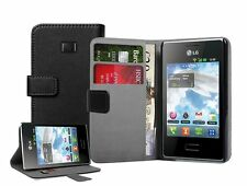Black Wallet Leather Flip Case for LG E400 Optimus L3 - Cover Holster Pouch