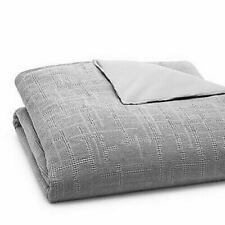 OAKE WAFFLE PLAID COLLECTION COTTON QUILTED QUEEN DUVET COVER FOG GRAY SILVER