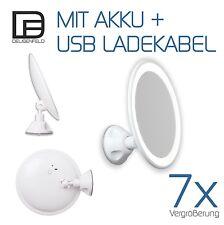 27DEUSENFELD SKL187A - LED Akku Saugnapf Kosmetikspiegel, 7-Fach, ø 18cm, USB