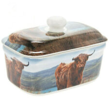 VINTAGE STYLE FINE CHINA HIGHLAND COW BUTTER DISH WITH LID NEW AND GIFT BOXED