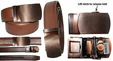 """Men's belt. Leather Dress Belt Quick Automatic Lock New Copper buckle up to 43"""""""