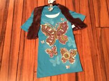 Shirt & Vest 2 for 1  $28 Girls M Butterfly Removable brown vest