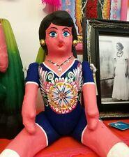 Authentic Mexican Paper Mache Large Lupita Doll Blue Dress Handmade Folk Art