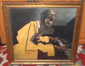 Painting Black Jazz Musician Cubist Style Man Playing Piano Signed BUA Framed