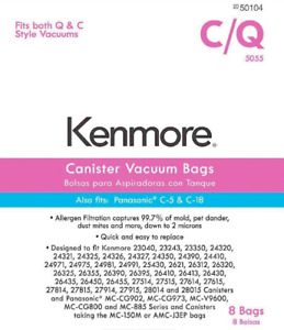 Kenmore 50104 Type C/Q Vacuum Bags for Canister Vacuums Style 8 Pack ~ 5055 NEW