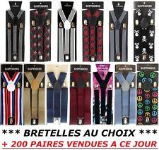 BRETELLES 3 PINCES REGLABLE ELASTIQUE PANTALON HOMME JOINTURE CUIR FRANCE ...