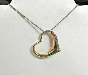 """Tiffany & Co Elsa Peretti 18K Gold XL Extra Large Open Heart Necklace 35mm 1/38"""""""