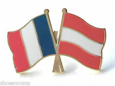 France & Austria Flags Friendship Courtesy Gold Plated Enamel Lapel Pin Badge