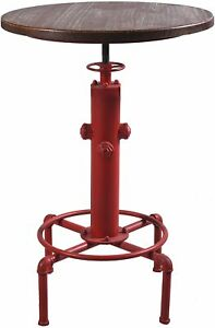 Industrial Bar Table Solid Wood Water Pipe Design Cafe Coffe Table  (Red)