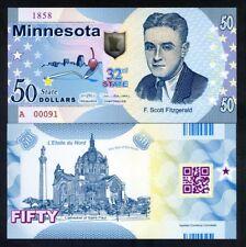 USA States, Minnesota, $50, Polymer, ND (2018), UNC - Scott Fitzgerald