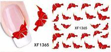 NAIL Art Adesivi Acqua Decalcomania Per Unghie Trasferimento Wraps Rosso Fiocco Adesivo Carino stz034