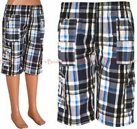 Boys Checked Shorts Long Knee Length Cargo Style Kids Clothes Ages 3-14 Years
