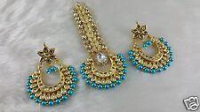 Gold Plated Real Meena Kundan Handmade Ethic Big Earrings With Awesome Tikka