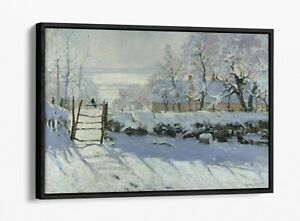 CLAUDE MONET THE MAGPIE -FLOAT EFFECT CANVAS WALL ART PIC PRINT- BLUE GREY