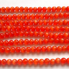 """16"""" oeil de chat verre 6 mm Perles rondes rouge"""