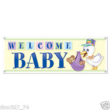 """1 BABY SHOWER Party Decoration Prop WELCOME BABY Stork SIGN BANNER 60"""" x 21"""""""
