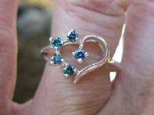 .27ctw VS1 HEART SHAPE NATURAL BLUE DIAMOND RING! SPARKLES OF SKY BLUE COLOR!