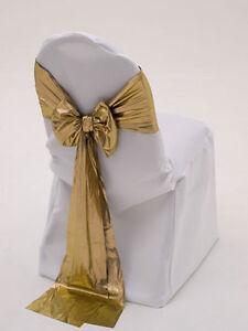 "100 Tissue Lame Chair Cover Sash Bows 6""x108"" Metallic Gold or Silver Wedding"